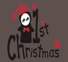 My 1st Christmas txt penguin vector art  One Piece - Short Sleeve