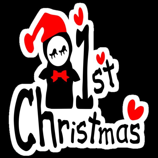 My 1st Christmas txt penguin vector art  by cheeckymonkey
