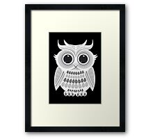 White Owl - Black Framed Print