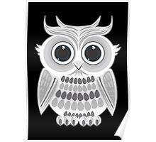 White Owl - Black Poster