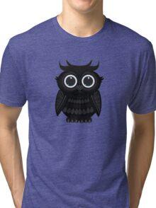 Black Owl - White Tri-blend T-Shirt