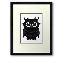 Black Owl - White Framed Print