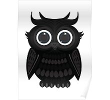 Black Owl - White Poster