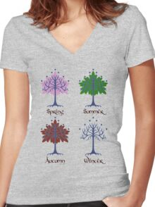 Tree of Gondor - Seasons Women's Fitted V-Neck T-Shirt