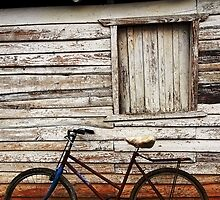 Bike leaning against farm building, Vinales, Cuba by buttonpresser