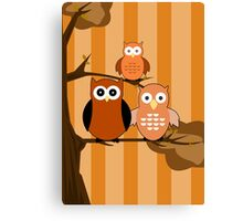 Orange Owls Canvas Print