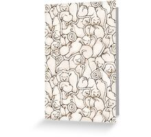 Sleepy House Animal Pattern - Neutral Greeting Card