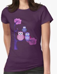 Purple Owls Womens Fitted T-Shirt
