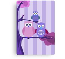 Purple Owls Canvas Print