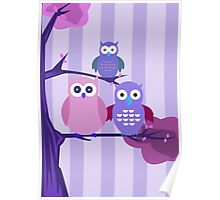 Purple Owls Poster