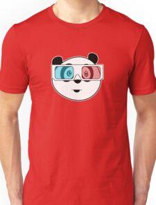 Panda - 3D Glasses (Black) Unisex T-Shirt