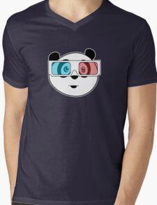 Panda - 3D Glasses (Black) Mens V-Neck T-Shirt