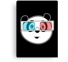 Panda - 3D Glasses (Black) Canvas Print