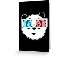 Panda - 3D Glasses (Black) Greeting Card