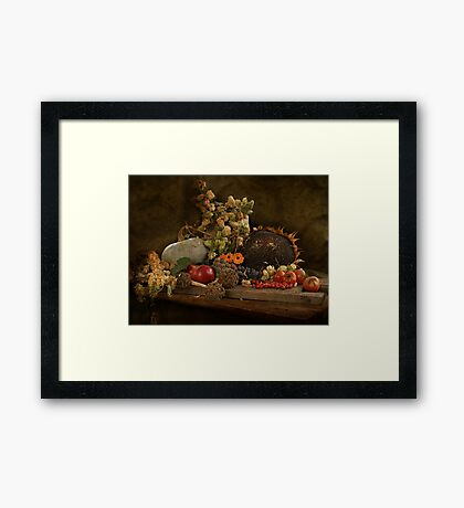 still life of autumn fruits and vegetables Framed Print