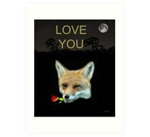 Eftalou Fox Max with rose LOVE YOU Art Print