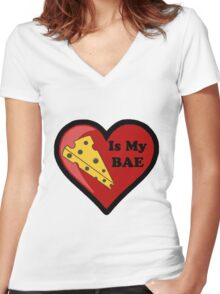 Cheese Is My BAE Women's Fitted V-Neck T-Shirt