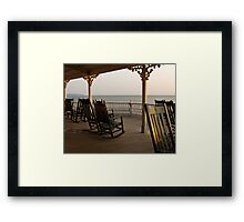 Surf Hotel Porch View - Block Island Framed Print
