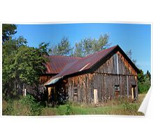 Barn on a Blue Sky Day Poster