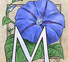 M is for Morning Glory card by Stephanie Smith