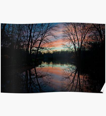 Lake setting sun  Poster