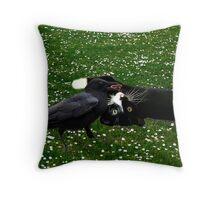 ☆ º ♥ `•.¸.•´ ♥ Crow Feeding Kitten~ Best Friends ☆ º ♥ `•.¸.•´ ♥ Throw Pillow