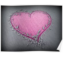 Pink Heart in Sand Poster