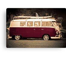 Camper van Surfs up Canvas Print