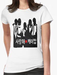 I LOVE KPOP in Korean txt Boys vector art  Womens Fitted T-Shirt