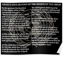 Geneva Declaration of the Rights of the Child Black Background and Gold UN Logo Poster