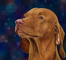 Brown Vizsla Looking to the Side, Painting by ibadishi