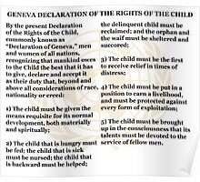 Geneva Declaration of the Rights of the Child White Background and Gold UN Logo Poster