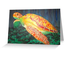 Sea turtle within rays of sunshine Greeting Card