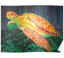 Sea turtle within rays of sunshine Poster
