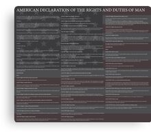 American Declaration of the Rights and Duties of Man Black Background and US Flag Canvas Print