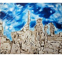 Blue skies and carved city Photographic Print