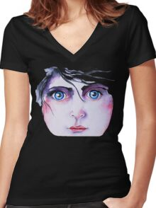 Blue-eyed Women's Fitted V-Neck T-Shirt