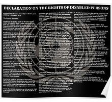 Declaration on the Rights of Disabled Persons Black Background and Gold UN Logo Poster