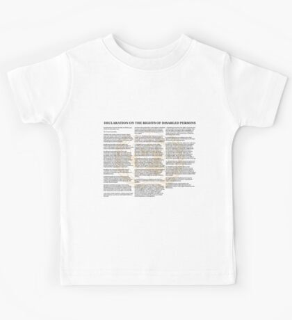 Declaration of the Rights of Disabled Persons White Back w dim Gold UN Logo Kids Tee