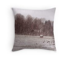turkeys winter field  Throw Pillow