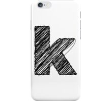 Sketchy Letter Series - Letter K (lowercase) iPhone Case/Skin