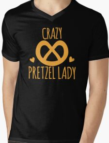 Crazy Pretzel Lady Mens V-Neck T-Shirt