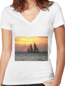 Sunset Sail in Key West Women's Fitted V-Neck T-Shirt