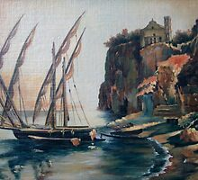 """""""Harbor In Sorrento"""".The copy from picture of S.Shchedrin by Alla Melnichenko"""