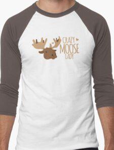 Crazy Moose Lady Men's Baseball ¾ T-Shirt