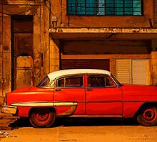 Classic Red American car at Dawn, Havana, Cuba by buttonpresser