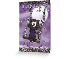 Cute Purple Valentine's Cat On Swing Greeting Card