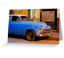 Blue Chevy at Dawn, Havana, Cuba Greeting Card