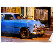 Blue Chevy at Dawn, Havana, Cuba Poster