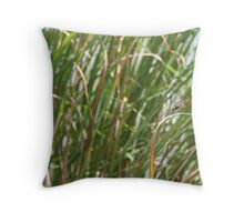 Dragonfly on  dune grass Throw Pillow